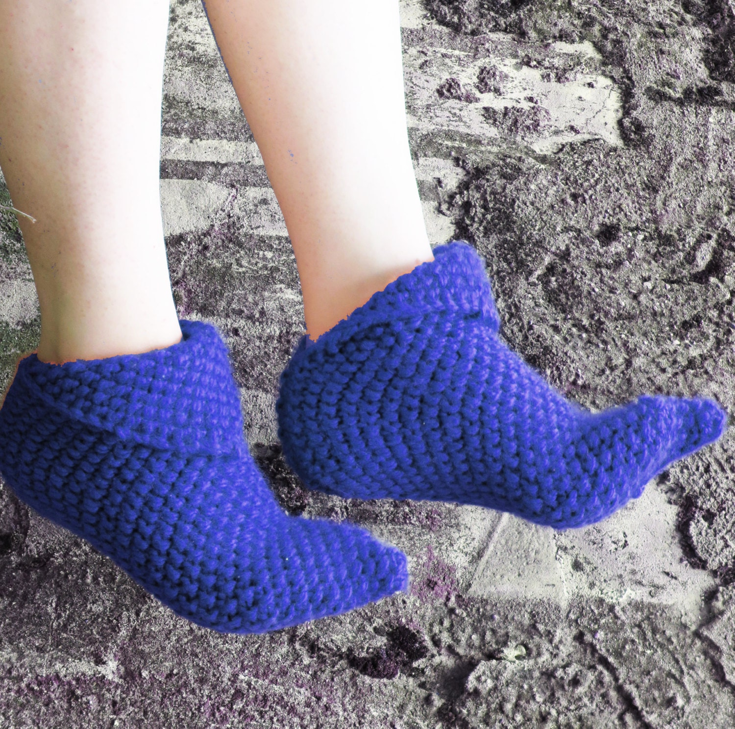 Knitting Pattern For Womens Slippers : Knitted Slippers Women Slippers Knit Slippers Blue house