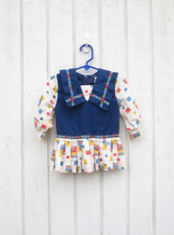 Vintage Baby Clothes Dress Trains Nautical Baby Girl Dress Mod