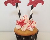 Red Glitter Witch's Shoes Wizard of OZ Cupcake Topper Decoration