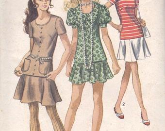 70s Two Piece Mini Dress Simplicity 8780 Size 12