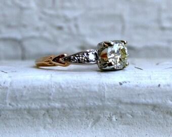 Antique Art Deco 14K Yellow Gold Diamond Engagement Ring - 0.81ct.