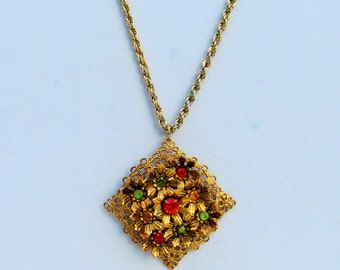 Vintage colorful rhinestone pendant on long chain, gold filigree pendant