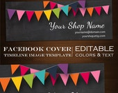 Facebook Timeline Cover Image - Customizable Premade Chalkboard Bunting Design- DIY Online Editor Retro Minimalist Clean Blackboard Rainbow