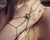 filigree flower slave bracelet with turquoise cabochon, bracelet ring, slave ring, flower ring, boho bracelet, ring bracelet
