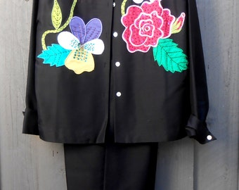 Vintage 80s Black Silk Pant Suit with Giant Colorful Flowers and Beading.