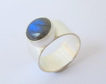 Labradorite Ring, Sterling Silver Ring, Gemstone ring, Wide Band, Handmade