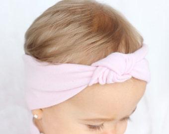 Baby Turban Headband, Light Pink Knot Turban Headband, Baby Pink Headband, Baby Hair Accessories, Baby Turbans, Baby Fall Turban