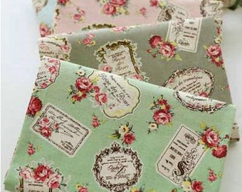 Retro Cotton Linen with Floral,Rose Pattern,Vintage Style,diy,Sewing , Zaka DIY Fabric, 1/2 yards (QT342)