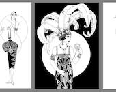 Set of three art deco posters