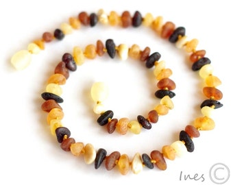 Raw Unpolished Baltic Amber Baby Teething Necklace Multicolor Beads 111