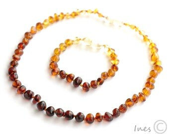 Set Of Baltic Amber Baby Teething Necklace and Bracelet/Anklet Rounded Rainbow Color Beads