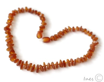 Raw Unpolished Baltic Amber Baby Teething Necklace Cognac Color