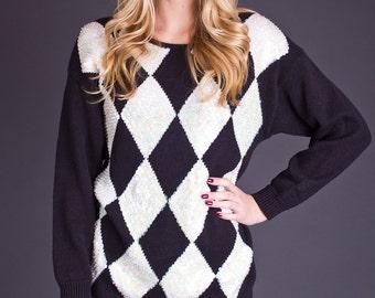 SALE 50% OFF 80s Vintage Sequin Diamond Print Sweater in Black & White