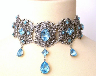 Aquamarine Swarovski Choker - More Colors - Victorian Bridal Silver Choker - Bridal Necklace - Gothic Jewelry - Wedding Jewelry