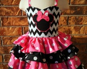 Minnie Mouse Boutique Girls Birthday Dress Ruffle Dress Pageant Dress Outfit of Choice Boutique Hair Bow 6m 12m 18m 24m 2T 3 4 5 6 7 8
