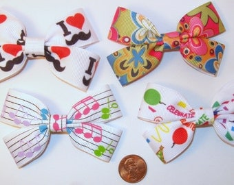 """Choose 4 """"double-take"""" style bows- Mustache, mod flowers, music notes, celebrate birthday party"""