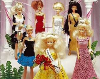 Barbie Fashion Doll Prom Dresses Crochet Pattern Book 1103 American School of Needlework