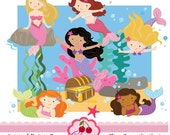 Little Mermaid  Digital Clipart Set for -Personal and Commercial Use-paper crafts,card making,scrapbooking,web design
