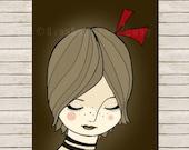 aceo print , art print, portrait girl - girls portrait,  art card - girl with a bow