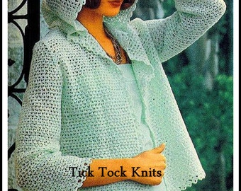 No.313 Crochet Sweater Pattern 1970's Vintage PDF - Women's Hooded Jacket Sweater - Retro Crochet Pattern