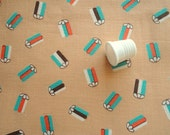 orange and turquoise on tan vintage cotton fabric -- 36 wide by 1 yard