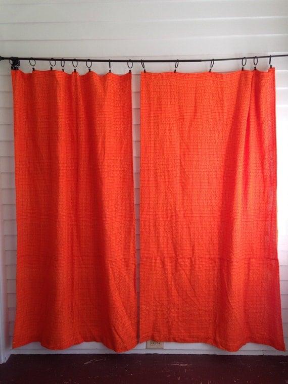 Vintage Orange Curtains Bright Orange Woven Weave Curtain