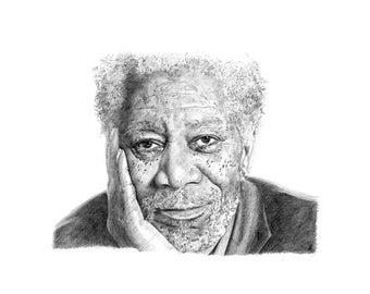 ORIGINAL MORGAN FREEMAN pencil drawing