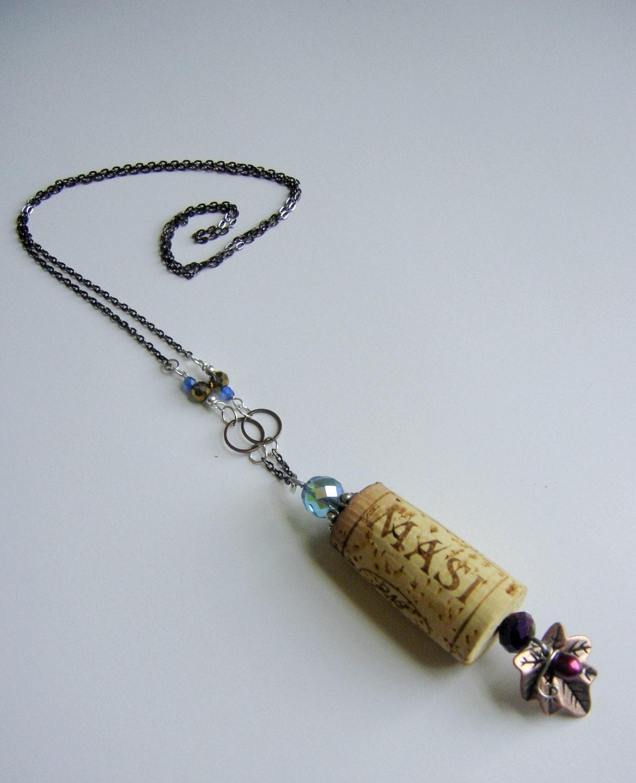 Cork Jewelry: Wine Cork Necklace Handmade Large Boho Necklace Repurposed