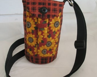 Water Bottle Holder Sling//Walkers Insulated Water Bottle Cross Body Bag// Hikers Water Bag-Rust with Sunflowers