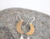 Brass crescent moon with kyanite dangle earrings