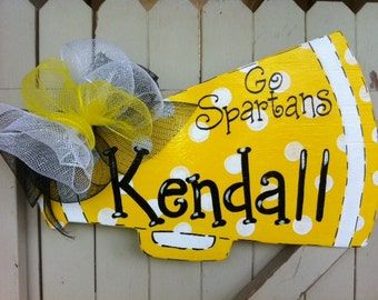 Personalized Cheerleader Megaphone Wooden Door Hanger