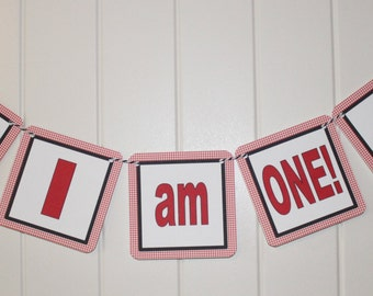 "TRACTOR Themed ""I am One"" Highchair Banner Red Black"