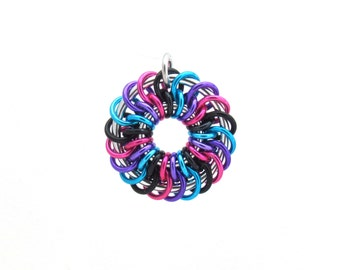 Chain Maille Pendant, Multicolor Pendant, Jump Ring Jewelry, Handmade Jewelry