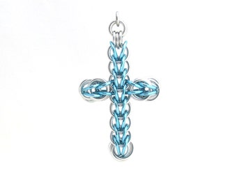 Blue Cross Pendant, Chain Maille Cross, Chain Maille Jewelry