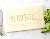 Custom personalized wooden engraved cutting board. Last name for wedding gift, engagement present or anniversary.