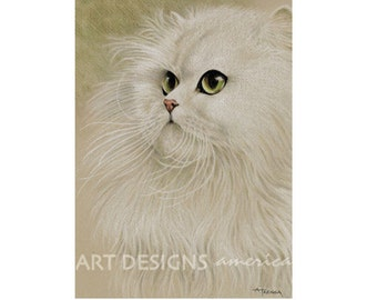 ACEO White Persian Cat, Archival Art Print, SFA Small Format Art, Cat Artist Trading Card, Cat Pastel, Persian Cat Drawing, ADA-P256A