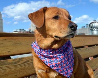 Union Jack - No tie dog bandana - British Flag - Goes over collar  - red white blue - Small Medium Large