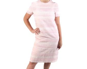 60s 70s Dress / Wiggle Dress / Pink / Sheer / Lace / Carlye