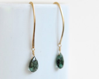 Natural Emerald Earrings- Gold Filled Earrings- Emerald Green Earrings- Gold Filled Dangle Earrings- Emerald Dangle Earrings- Mossy Green
