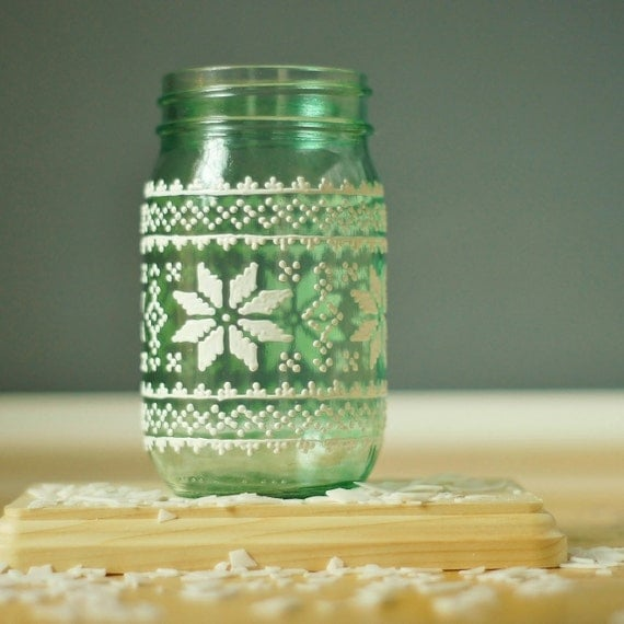 Mason Jar With Christmas Sweater Design
