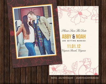 5x7 Save The Date Announcement / Card Template - S6