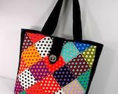 RESERVED for DappledDog - Patchwork Tote, Quilted Bag, Linen, Jester, Harlequin, black, diamonds, dots, multi-color