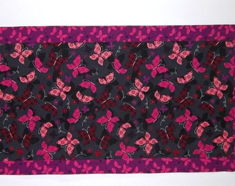 Table Runner with Butterflies- Purple Black and Lavender - Reversible Table Runner