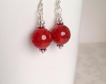 Carnelian Gemstones and Sterling Silver Earrings