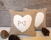 Personalized Valentine Heart Pillow, Rustic Wedding Favor, Bridal Shower, Anniversary Pillow, Maine Balsam Pillow, Rustic Heart Pillow