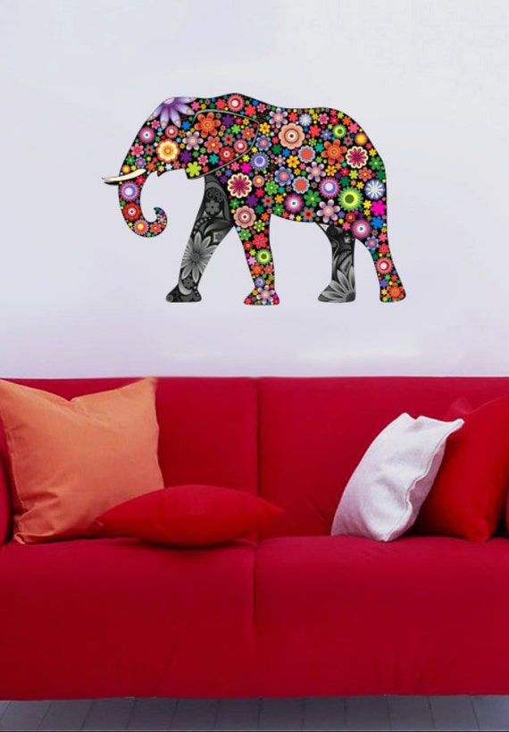 Colorful Elephant 4 Color Animals Multicolor Vinyl Wall: colorful elephant home decor