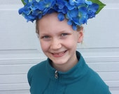 Frida Inspired Floral Crown, Blue Hydranga Headpiece, Alice in Wonderland Flower Costume, Bridal Headpiece