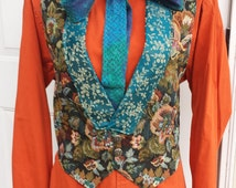 Upcycled Steampunk Clothing, Joker Costume Brocade Vest with Satin Lining, Orange Button-up Shirt and Handmade Turquoise Cotton Bow Tie