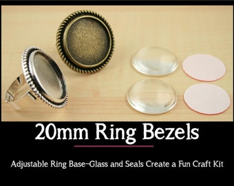 10 - 20mm ROUND Alloy Ring BezelTray and Optional 20mm Glass Domes (10) and Adhesive Craft Seals (10 or 20) Adjustable Ring Base. Craft Kit