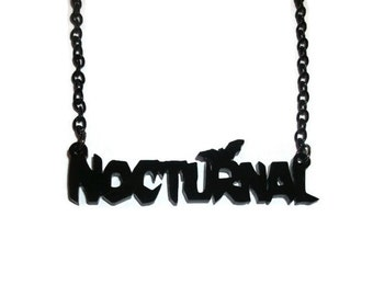 Nocturnal Necklace, Creepy Black Bat, Laser Cut Acrylic, Perspex Jewelry